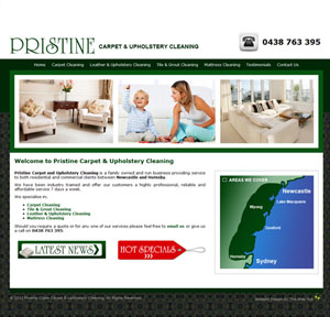 The Web Hub : Pristine Clean Carpets Website Design